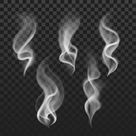 Illustration pour Transparent steam, cigarette smoke waves, fog texture vector set. Transparent smoke abstraction, illustration of template smoke isolated in checkered backdrop - image libre de droit