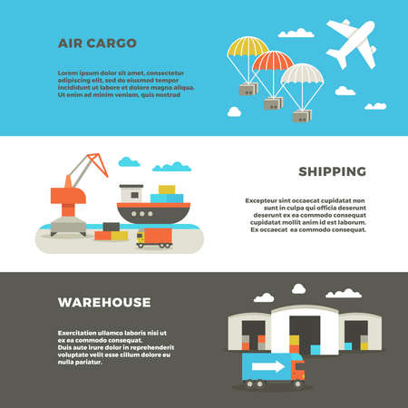 Illustration pour Delivery cargo transportation and logistics service vector advertising banners. Warehouse with container and shipping, illustration air and sea shipping - image libre de droit