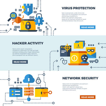 Illustration pour Online communication security, computer protection vector web banners set. Protect computer firewall, protect access to network illustration - image libre de droit