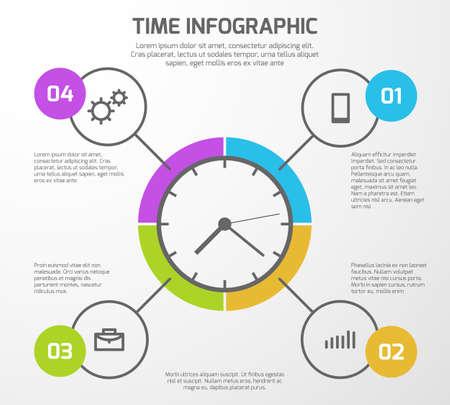Illustration pour Presentation vector background with time management infographic, clock and options. Infographic for presentation business illustration - image libre de droit