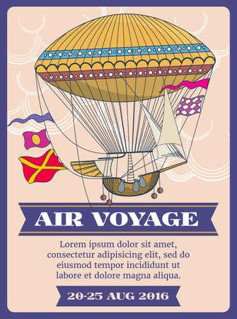 Photo pour Hot air balloon cartoon vector illustration. Festival air balloon voyage banner, air transport balloon - image libre de droit