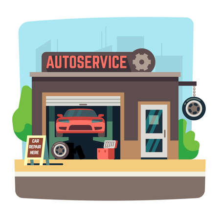 Illustration for Car repair mechanic shop with automobile inside auto garage vector illustration. Auto service repair garage - Royalty Free Image