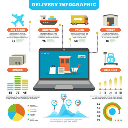 Illustration pour Cargo logistics and production delivery vector infographic mockup. Delivery service air and truck, illustration of delivery info and distribution - image libre de droit