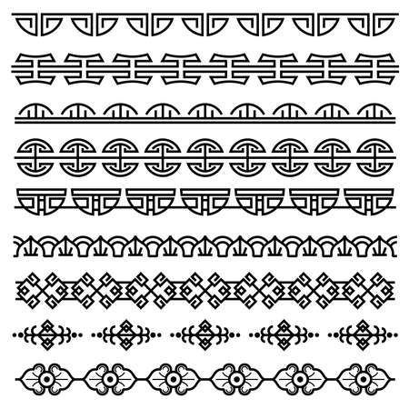 Illustration pour Chinese decoration, traditional antique korean pattern, vector asian seamless borders set. Korean border pattern, illustration of traditional oriental japanese pattern - image libre de droit