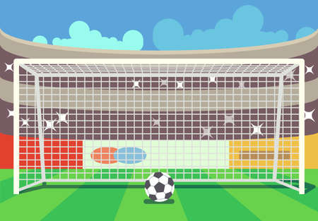 Illustration for Vector soccer stadium and ball illustration. Frame to football sport illustration - Royalty Free Image