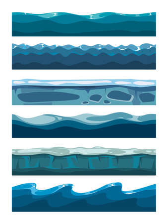 Illustration for Set of sea backgrounds for mobile games apps. Collection of water surface illustration - Royalty Free Image