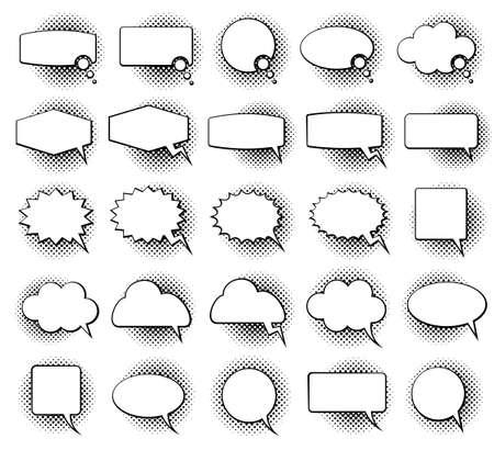 Illustration pour Empty monochrome speech comic text bubbles with halftone dot shadow effect vector set. Speech bubble for dialog, illustration of speech cloud - image libre de droit