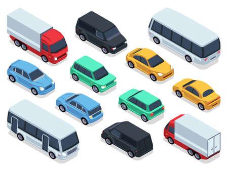 Illustration pour Isometric vehicles and cars for 3d city traffic map. Vector urban transport set. Transport car isometric, auto car 3d style illustration - image libre de droit