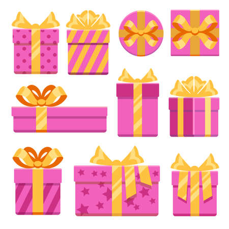 Illustration pour Pink gift boxes with ribbon bows vector icons set. Christmas gifts with ribbon bow illustration - image libre de droit