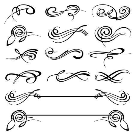 Illustration pour Calligraphy swirls ornate flourish vector decoration set. Calligraphy flourish tattoo, illustration of decoration flourish classical elements - image libre de droit