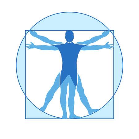 Illustration for Human body vector icon similar vitruvian man. Like Leonardo da Vinci image vitruvian man, classic proportion form man illustration - Royalty Free Image