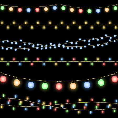 Illustration for Glowing Christmas garlands vector background. Illustration of decorative design holiday - Royalty Free Image