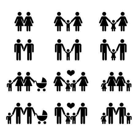 Illustration for Vector gay family with children icons white. Illustration mother and mom with kid - Royalty Free Image
