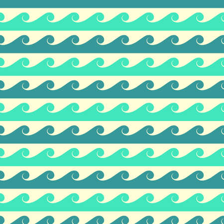 Illustration pour Blue and green vector waves seamless pattern. Background line water ocean or sea illustration - image libre de droit