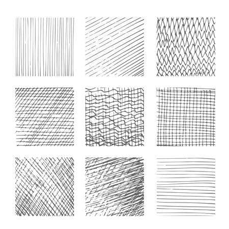 Illustration for Hatching textures, cross lines canvas patterns on white background vector illustration - Royalty Free Image