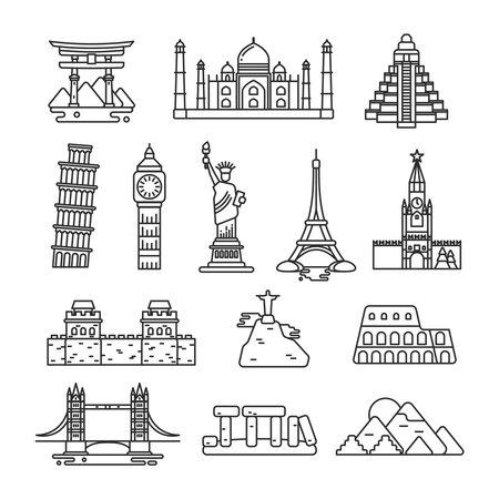 Illustration pour International country landmark vector line icons. Set of landmarks famous monument, stonehenge landmark and coliseum illustration - image libre de droit