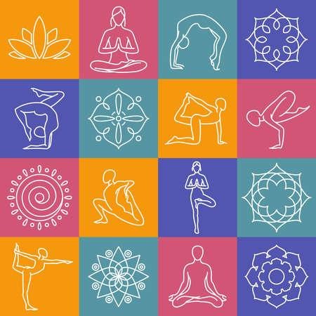 Illustration pour Yoga, body poses vector symbols for pilates studio, meditation class. Body position for yoga, set of sign for yoga gym illustration - image libre de droit
