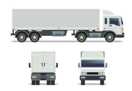 Illustration pour Cargo track in three points of view isolated on white. vector template for corporate identity. Long cargo truck with container, illustration of truck front, back and side view - image libre de droit