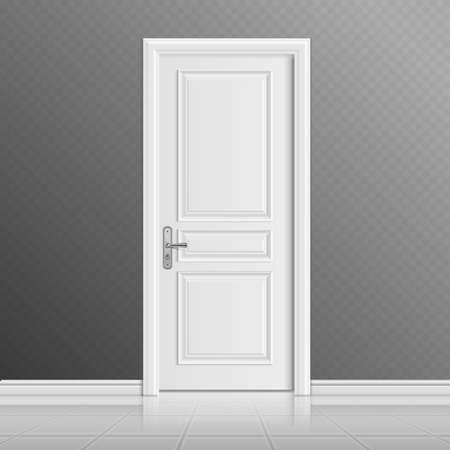 Illustration for Closed white entrance door vector illustration. Doorway entrance in house, interior door illustration - Royalty Free Image