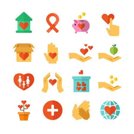 Illustration pour Charity, social help, money donate, nonprofit funding, generous hands vector. Set of icons hand giving and charity, ilustration of charity and donate - image libre de droit