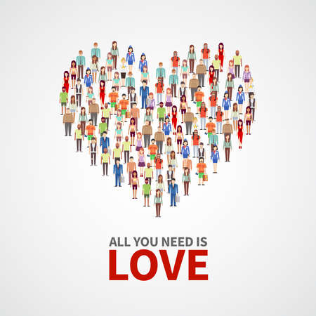 Illustration for Happy people community, adult persons crowd in heart shape. All you need is love vector poster. Crowd of people, illustration of concept human love - Royalty Free Image