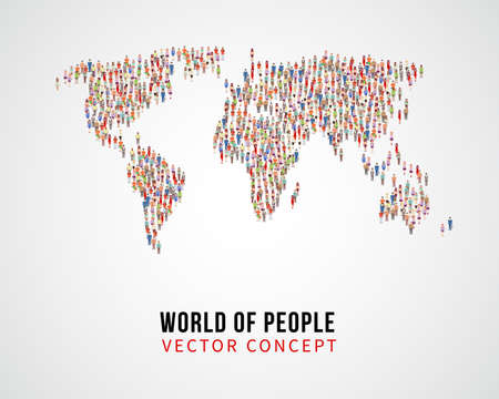 Illustration for People global connection, earth population on world map vector concept. Global population on planet, population of people on form world map illustration - Royalty Free Image
