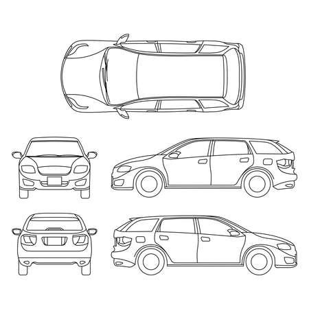 Illustration pour Line drawing of car white vehicle, vector computer art. Model of car, sketchy graphic transport car illustration - image libre de droit