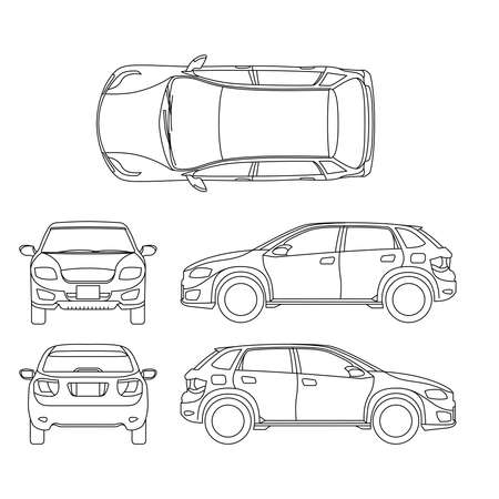Illustration for Offroad suv auto outline vector vehicle. Car model suv, illustration of suv automobile blueprint scheme - Royalty Free Image