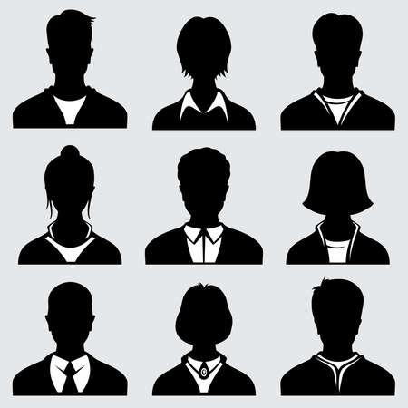 Illustration pour Woman and man head silhouettes, anonymous person vector icons. Anonymous person male and female, icon of person avatar illustration - image libre de droit