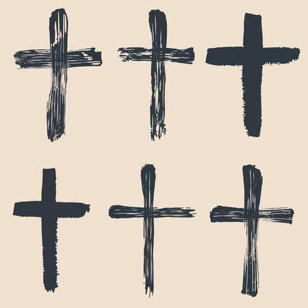 Illustration pour Grunge religious, baptism, christian crosses, crucifix symbols vector graphic paint set. Crucifix christian conceptual symbol illustration - image libre de droit