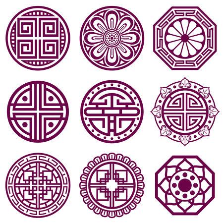 Illustration for Korean ornament, asian traditional vector symbols, bathroom pattern. Round elements in traditional korean style, illustration of korean tattoo - Royalty Free Image