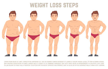 Illustration for Male before and after diet, man body from fat to thin. weight loss steps vector illustration. Body male health and slim, adult man with fat body - Royalty Free Image