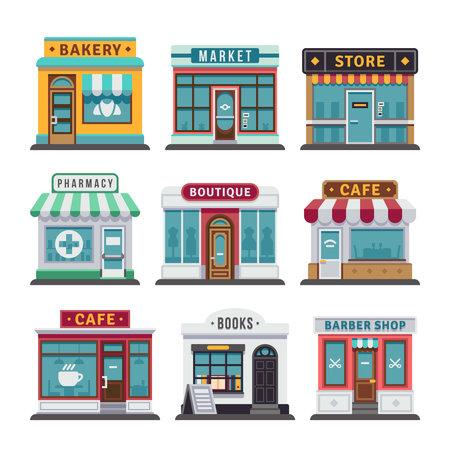 Photo pour Retail business urban shop, store. Market and bakery, cafe and boutique store, vecto barber shop illustration - image libre de droit