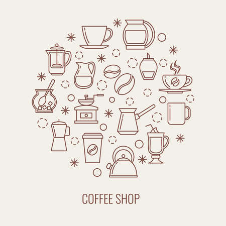 Illustration pour Coffee thin line vector icons set in a circle. Illustration of drink coffee concept - image libre de droit