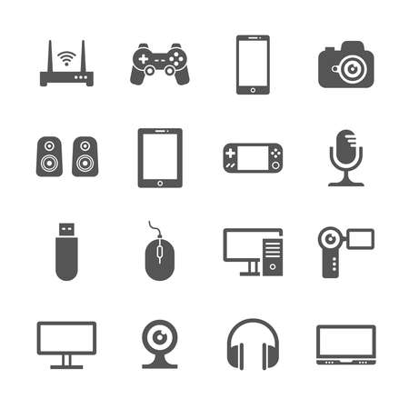 Illustration pour Computer gadgets and handheld digital device vector icons. Electronic device video and audio, illustration of gadget device - image libre de droit
