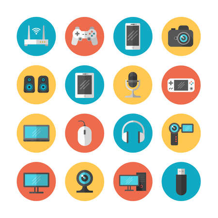 Illustration pour Electronic gadgets and device flat vector icons. Device phone and web camera, illustration of computer device and tablet - image libre de droit