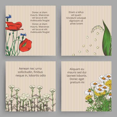 Photo pour Vintage banner with and drawn flowers - floral retro banners. Design flower poster template. Vector illustration - image libre de droit