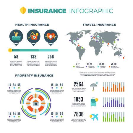 Illustration pour Insurance your business vector infographics. Insurance chart and infographic, insurance of health and travel illustration - image libre de droit