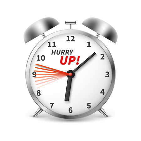 Illustration pour Hurry up vector concept background with alarm clock. Illustration of clock and time, hurry up alarm - image libre de droit