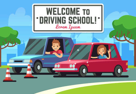 Illustration pour Driving school vector background with young happy driver in cars on road. Education driving car concept illustration - image libre de droit