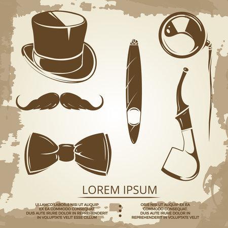 Illustration pour Getlemen style objects - cylinder, bow tie, tobacco. Vector vintage icons illustration - image libre de droit