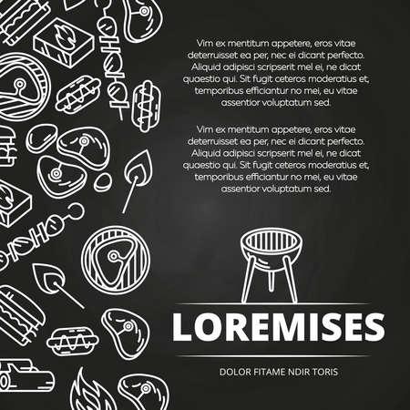 Ilustración de Barbecue, burgers and equipment chalkboard poster design. Vector flat illustration - Imagen libre de derechos