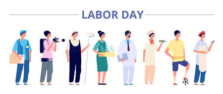 Illustration pour Labor day. International industrial workers group, people professional careers. Different girls boys on job banner, may holiday vector flyer. Illustration labor day, different occupation - image libre de droit