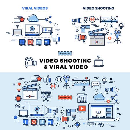 Illustration pour Viral video and video shooting information page. Viral video for internet marketing llustration - image libre de droit