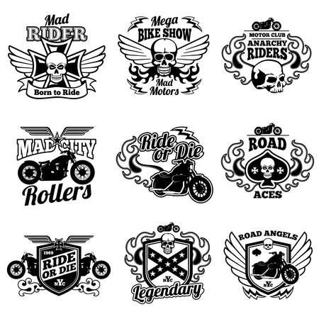 Illustration pour Vintage motorcycle labels. Motorbike vector retro badges and logos. Badge motorcycle and motorbike, label vintage emblem for moto club illustration - image libre de droit