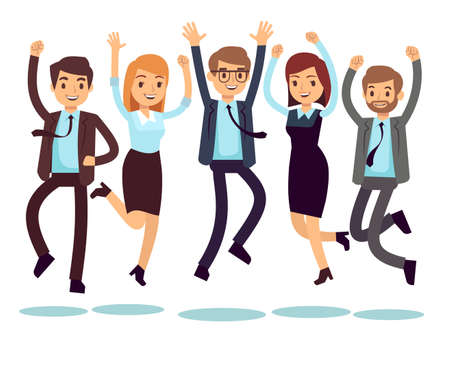 Illustration pour Happy and smiling workers, business people jumping flat vector characters. Happy worker character, team office people illustration - image libre de droit