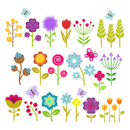 Illustration pour Summer flowers isolated vector collection. Cute floral elements for retro 70s design. Vintage flower blossom of set illustration - image libre de droit