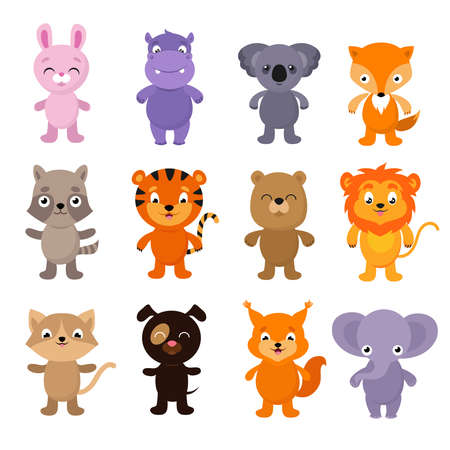 Illustration pour Funny cartoon young animals. Vector characters collection of dog and rabbit animals illustration - image libre de droit