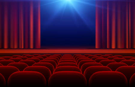 Illustration for Cinema or theater hall with stage, red curtain and seats vector illustration. Cinema theater and curtain for stage - Royalty Free Image
