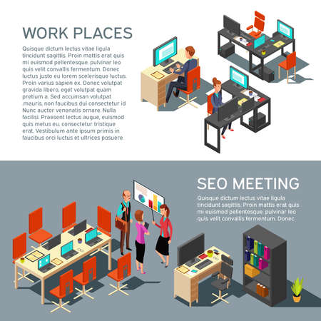 Illustration pour Business banners vector design with isometric workplace modern interior and 3d office people. Seo meeting and work place interior illustration - image libre de droit